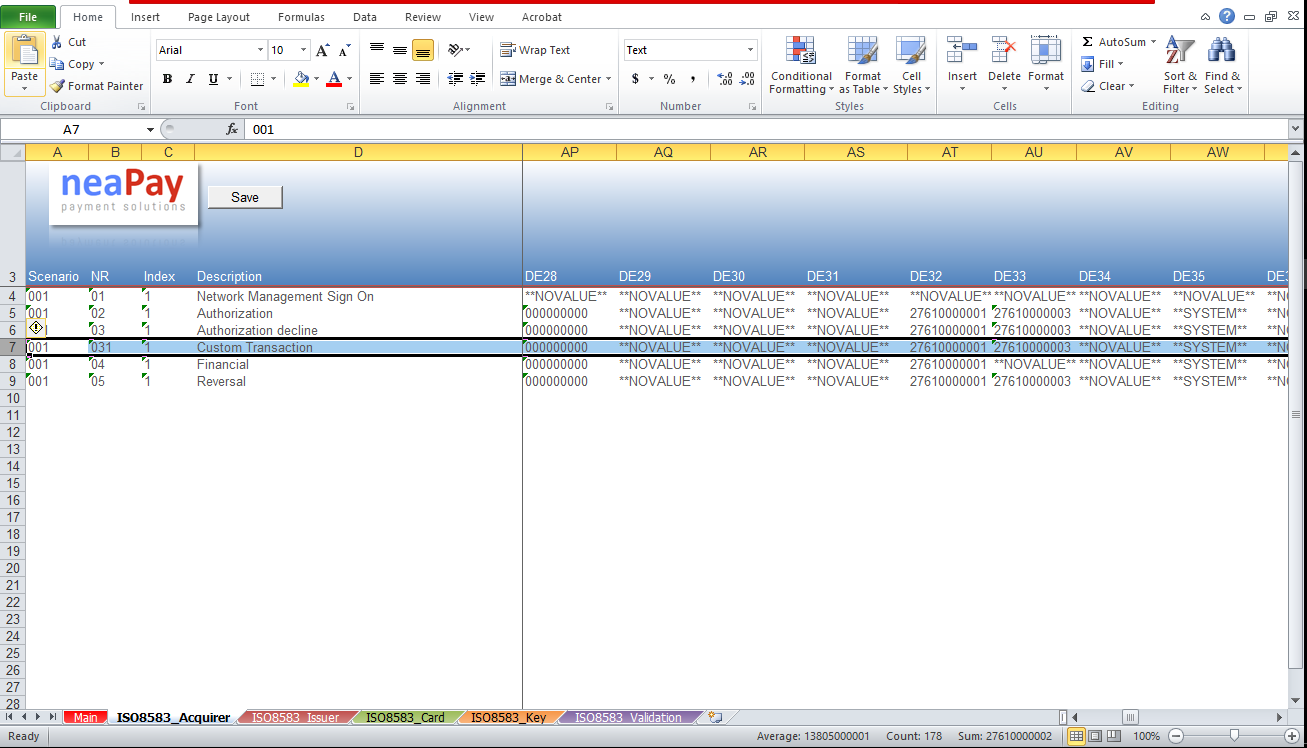 Altering test cases in Excel for the ISO8583 simulator